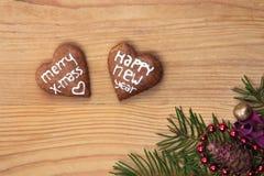 圣诞节自创姜饼曲奇饼 免版税库存照片