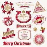 圣诞节节假日象征和标签 免版税库存图片