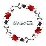 圣诞节花圈一品红,锥体,棉花 omela,桂香 Handlettering行情圣诞快乐 向量例证