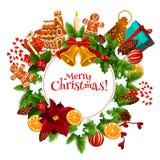 圣诞节花圈与新年礼物的贺卡 图库摄影