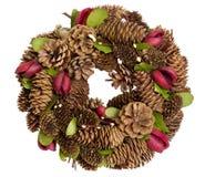 圣诞节花圈做ââfrom杉木锥体 图库摄影