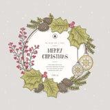 圣诞节花圈卡片 图库摄影