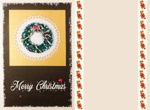 圣诞节花圈卡片 库存图片