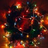圣诞节花圈在晚上 库存照片
