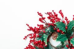 圣诞节花圈在白色背景和常青树隔绝的霍莉莓果 库存图片