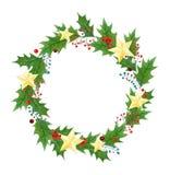 圣诞节花圈或框架用霍莉在水彩和金黄星绘的莓果、叶子在白色背景 图库摄影
