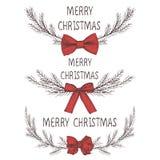 圣诞节花圈的传染媒介图象与弓,冷杉花圈的  圣诞快乐题字在中心 球圣诞节查出的心情三白色 Univers 向量例证