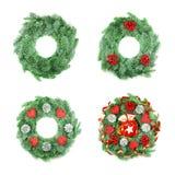 圣诞节花圈的另外类型与装饰品的在白色 免版税库存照片