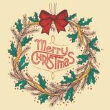 圣诞节花圈线描 免版税库存照片