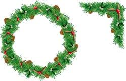 圣诞节花圈集合 免版税库存图片