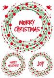 圣诞节花圈,传染媒介集合 库存图片