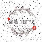 圣诞节花圈,冷杉花圈的传染媒介图象  圣诞快乐题字在中心 球圣诞节查出的心情三白色 普遍用途 库存例证