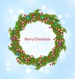 圣诞节花圈,新年装饰 向量例证