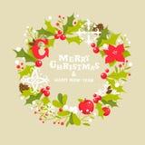 圣诞节花圈贺卡 免版税库存照片
