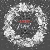 圣诞节花圈 圣诞节书法字法传染媒介设计 免版税库存照片