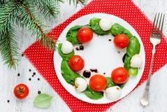 圣诞节花圈caprese沙拉,欢乐开胃菜 库存照片