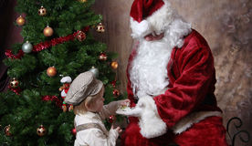 圣诞节花圣诞老人 免版税库存图片