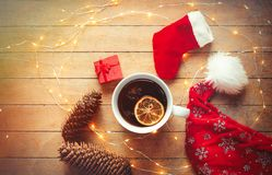 圣诞节茶和神仙ligths 免版税库存图片