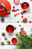 圣诞节茶用蔓越桔 免版税库存照片