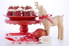 圣诞节草莓圣诞老人 库存图片