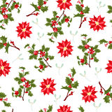 圣诞节莓果花传染媒介无缝的样式 库存照片