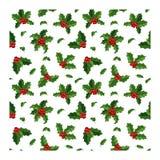 圣诞节莓果装饰无缝的样式 免版税库存照片