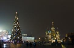 圣诞节莫斯科红场结构树 库存图片