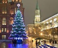 圣诞节莫斯科结构树 免版税库存照片