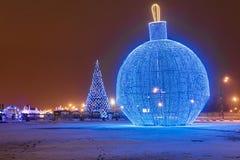 圣诞节莫斯科 在Poklonnaya小山的大圣诞树 图库摄影