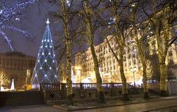 圣诞节莫斯科结构树 库存照片