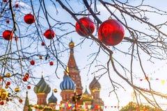圣诞节莫斯科 红场在天新年` s holida 库存图片
