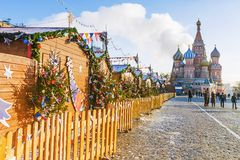圣诞节莫斯科 红场装饰了新年 免版税库存照片