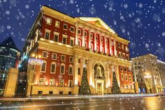 圣诞节莫斯科 莫斯科12月香港大会堂的大厦  免版税库存照片