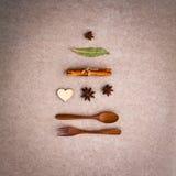 圣诞节菜单的背景 圣诞树形状从求爱 免版税库存图片