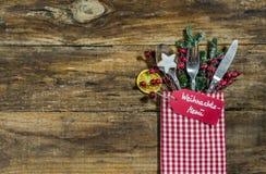 圣诞节菜单餐位餐具 库存照片