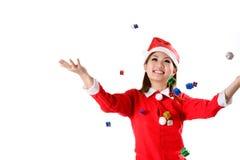 圣诞节落的礼品 库存图片