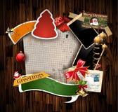 圣诞节葡萄酒剪贴薄构成 库存照片