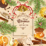 圣诞节葡萄酒框架 免版税库存图片