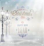 圣诞节葡萄酒海报。 免版税库存照片