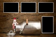 圣诞节葡萄酒照片框架卡片 免版税库存图片