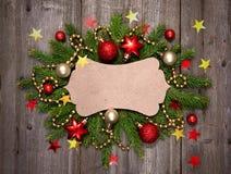 圣诞节葡萄酒看板卡 免版税库存照片