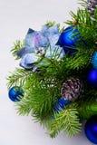 圣诞节蓝色中看不中用的物品,丝绸一品红和garlan冷杉的分支 库存照片