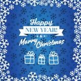 圣诞节蓝色向量背景 卡片或邀请 免版税图库摄影