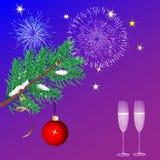 圣诞节蓝色背景烟花和圣诞树 免版税图库摄影