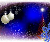圣诞节蓝色背景,贺卡 免版税库存图片