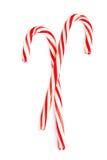 圣诞节薄荷的硬糖藤茎在一白色backg镶边了隔绝 免版税库存照片