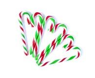 圣诞节薄荷的藤茎糖果关闭在白色 库存图片
