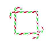 圣诞节薄荷的藤茎糖果关闭在白色 免版税库存图片