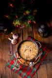 圣诞节蘑菇核桃汤 库存图片