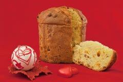 圣诞节蛋糕意大利节日糕点、巧克力和爱 免版税库存图片